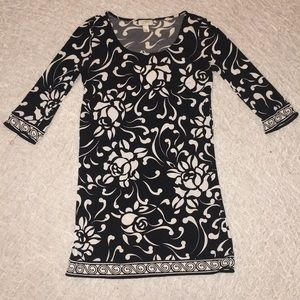 LOFT Dress - Black with White Rose Pattern - XS